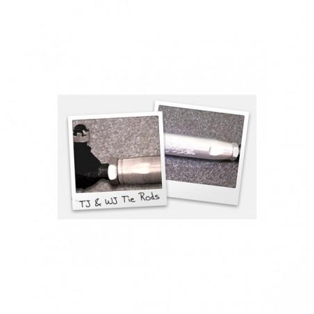 TJ Tie Rod: TJ Aluminum tie rod, factory length, w/ rod ends, satin finish
